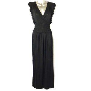Time and Tru Black Ruffle Smock Waist Maxi Dress S